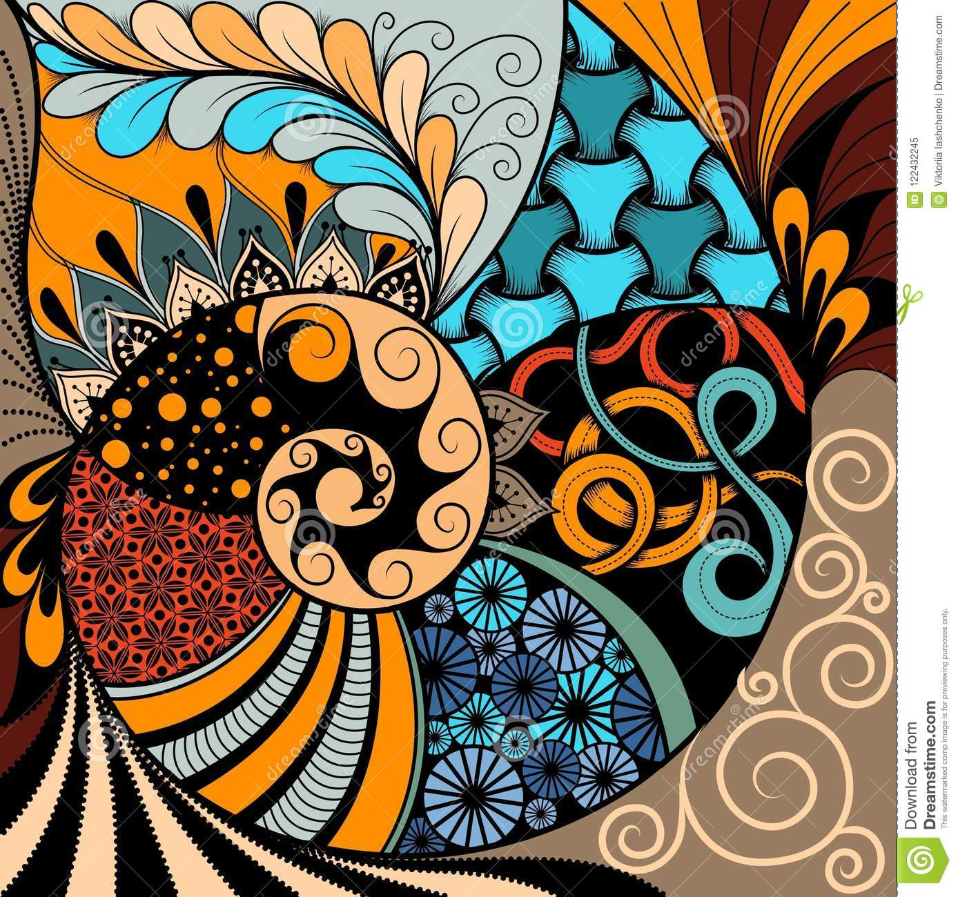 Hand-drawn ethno zentangle pattern, tribal background. It can be used for wallpaper, web page, bags, print and others. African sty