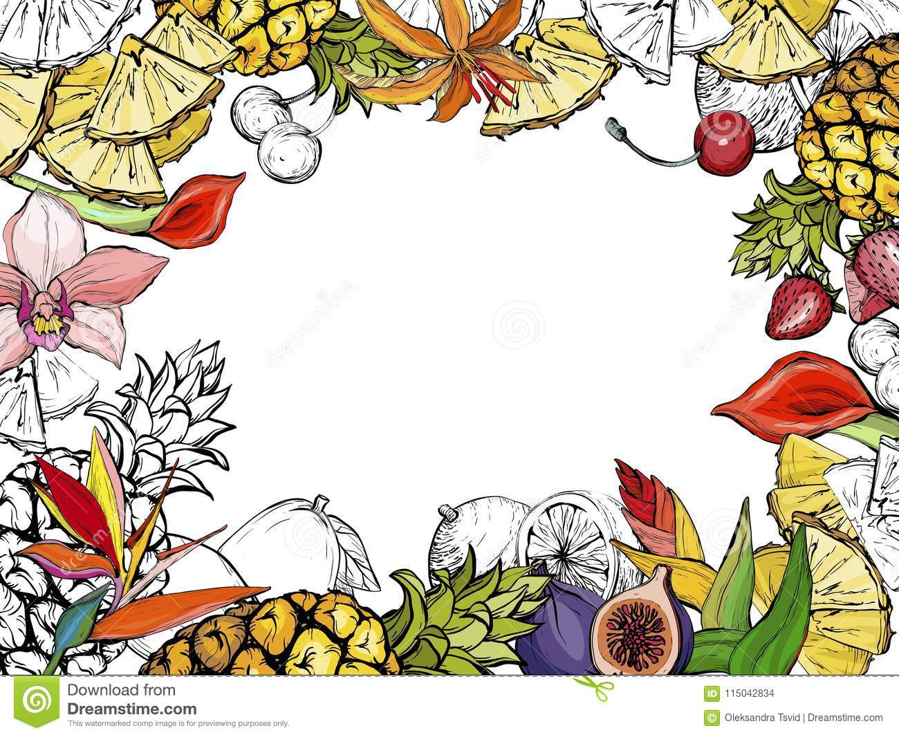 Hand drawn exotic summer background with fruit and flowers