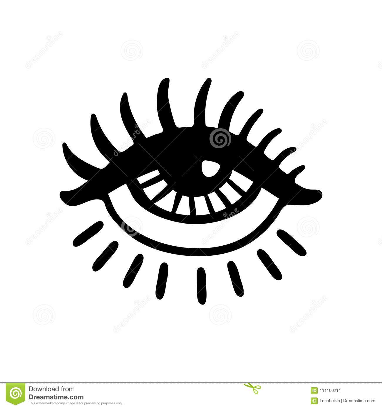 Hand drawn eye icon stock vector. Illustration of poster ...