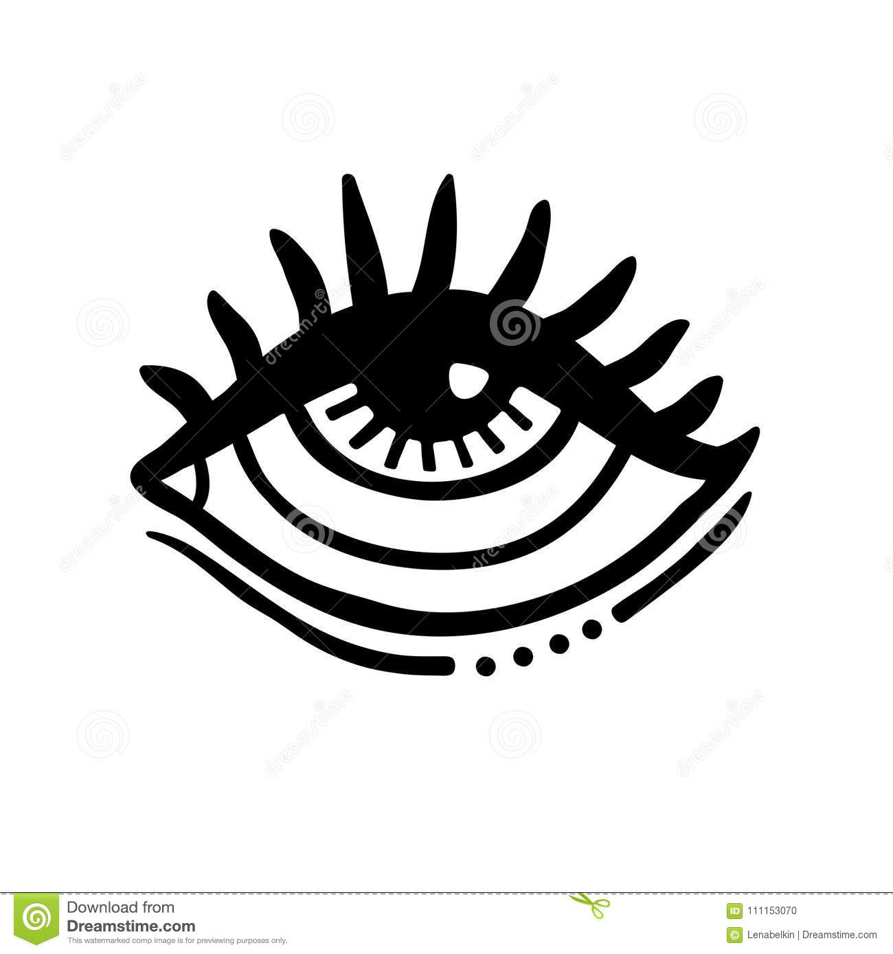 Hand Drawn Eye Icon Stock Vector Illustration Of Poster 111153070