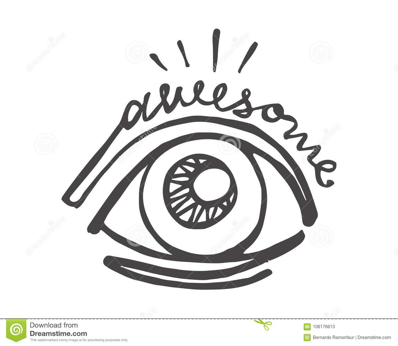 Hand Drawn Eye And Word Awesome Stock Vector Illustration Of Hand
