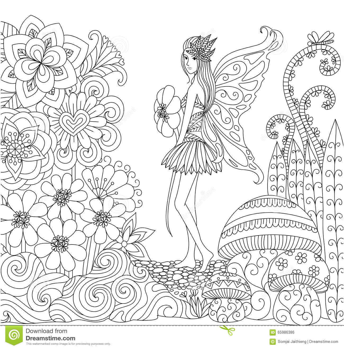 Hand Drawn Fairy Walking In The Flowers Land For Coloring Book