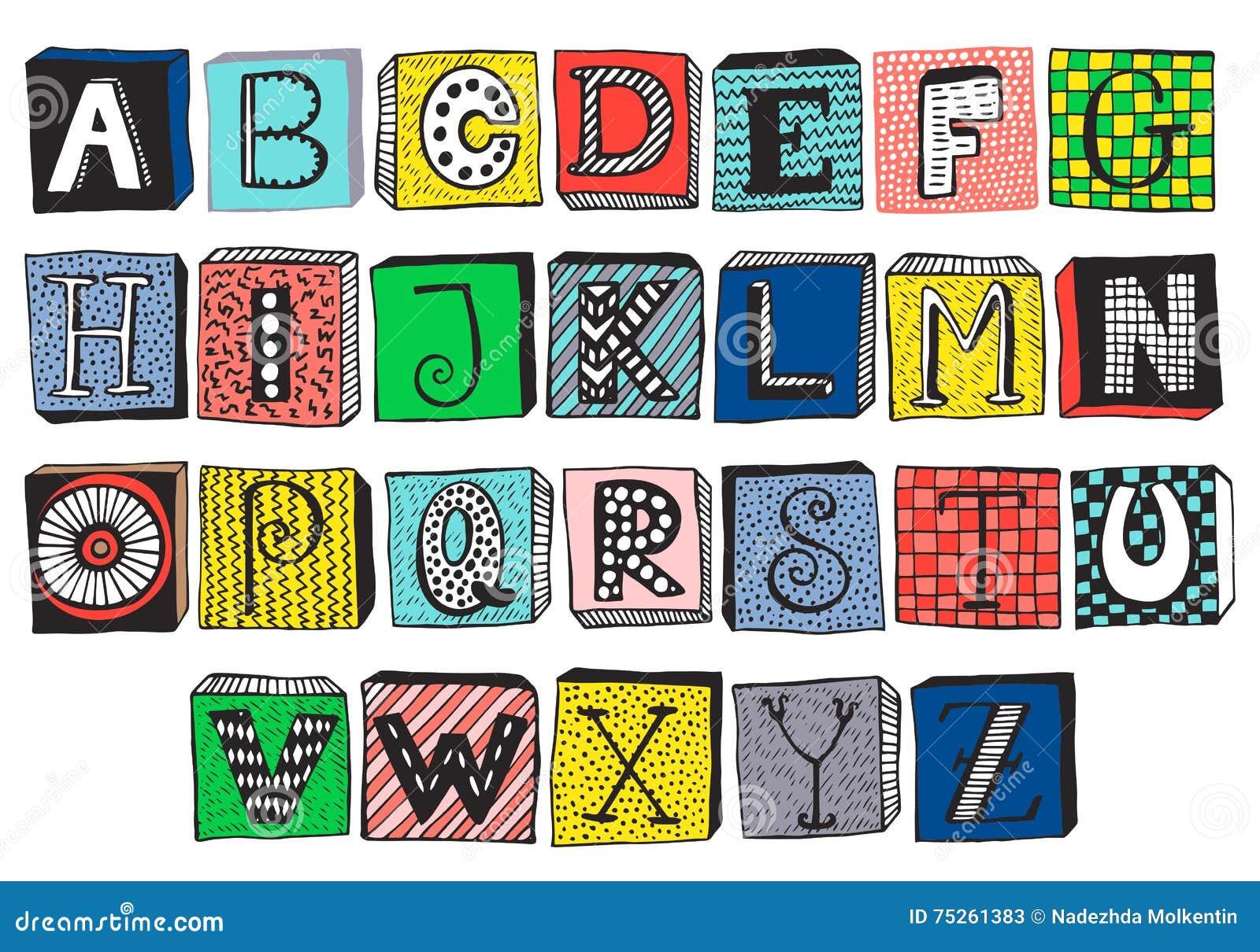 Hand Drawn Fancy Alphabet On Blocks Stock Vector Illustration Of