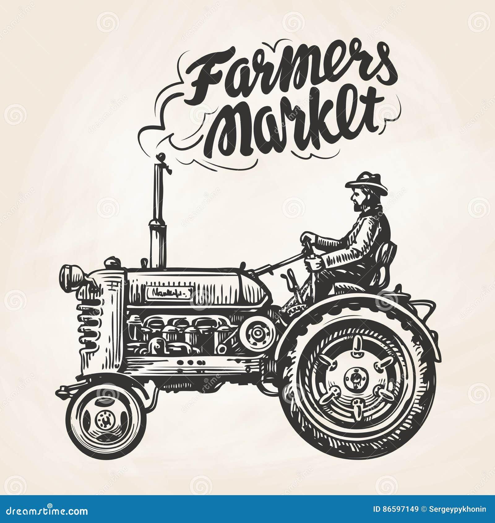 hand drawn farmer riding a tractor farmers market lettering vintage sketch vector. Black Bedroom Furniture Sets. Home Design Ideas