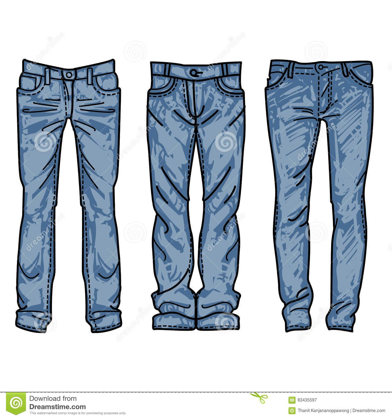 Hand Drawn Fashion Collection Of Men`s Jeans. Drawing Blue Jeans Stock Vector - Illustration Of ...