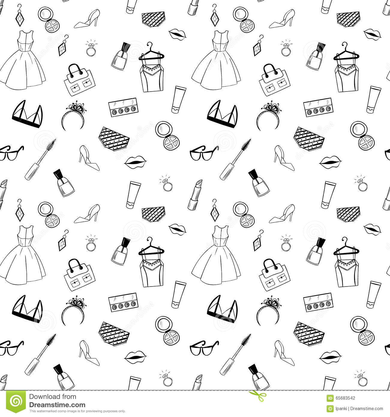 Coloring sheet hand - Hand Drawn Fashion Seamless Pattern For Adult Coloring Pages
