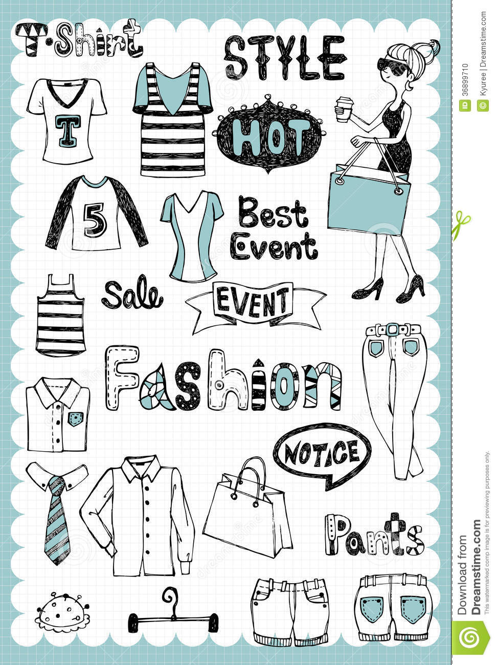 Hand Drawn Fashion Set 02 Stock Vector Image Of Backgrounds 36899710