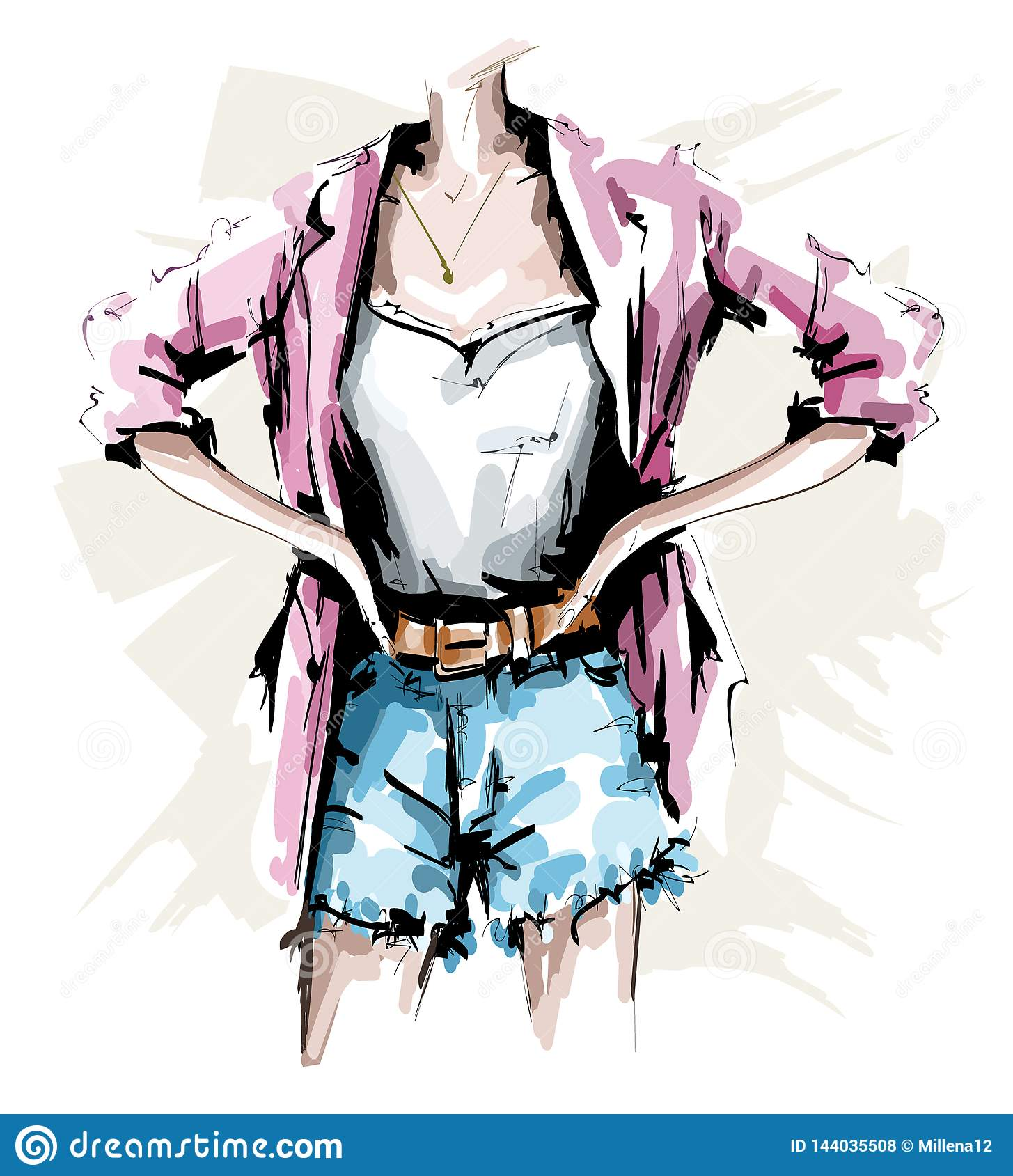 Hand drawn female body. Fashion outfit. Stylish woman look with shorts, shirt, jacket and accessories. Sketch.