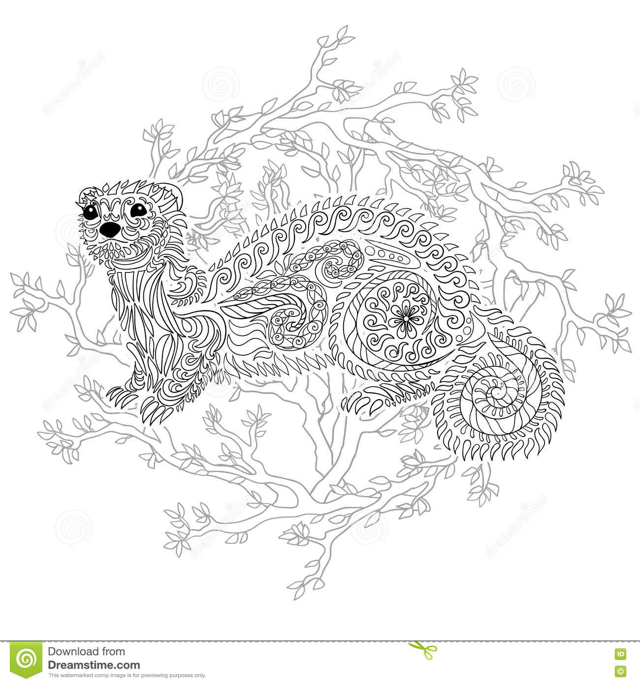 Hand Drawn Ferret With High Details Vector Illustration