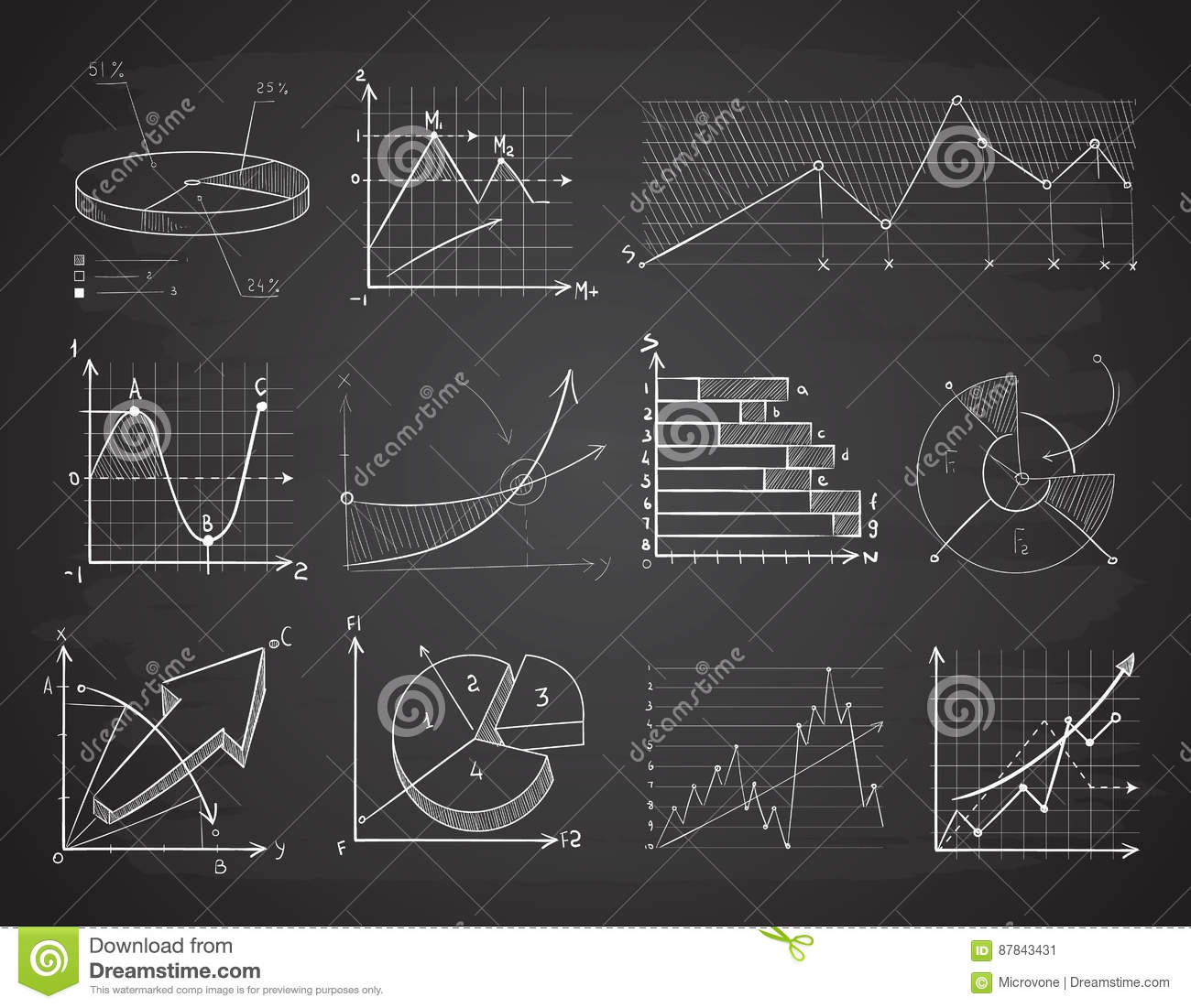 Drawing Line Graphs By Hand : Chalk infographic diagrams cartoon vector cartoondealer