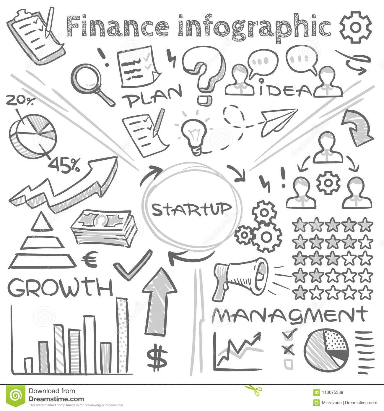 hand drawn finance vector infographics with doodle charts