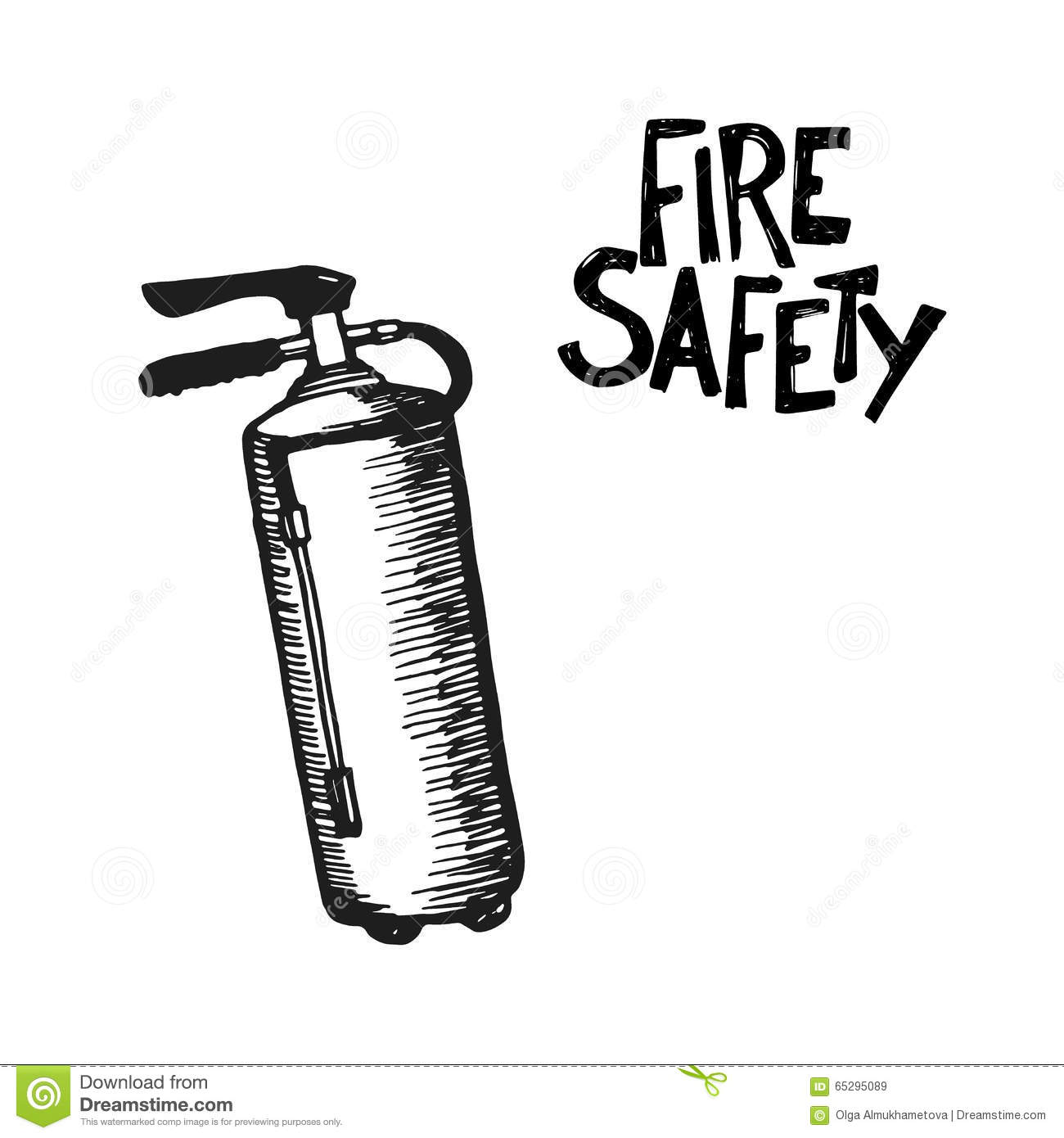 hand drawn fire extinguisher stock vector
