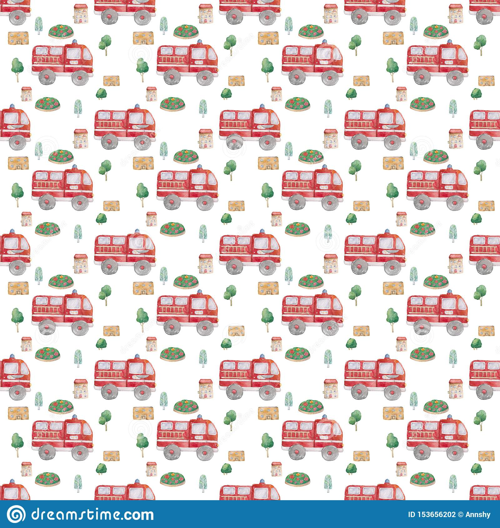 Watercolor Hand drawn fire trucks and green tree seamless pattern on white background. Cartoon illustration, baby cute truck style