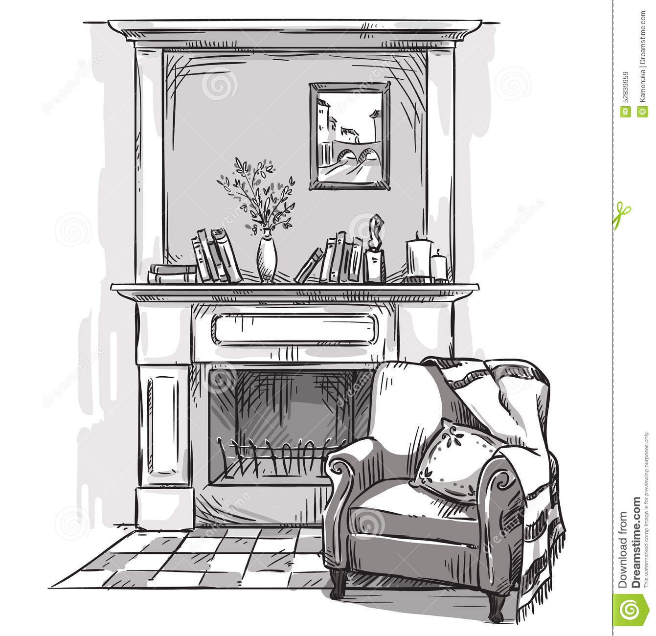 Hand Drawn Fireplace And An Armchair A Cozy Place At Home
