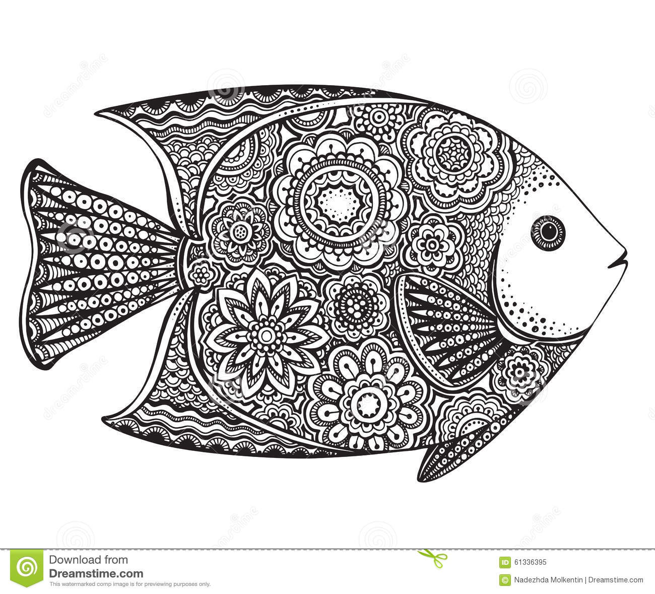 Hand Drawn Fish With Floral Elements Stock Vector Image