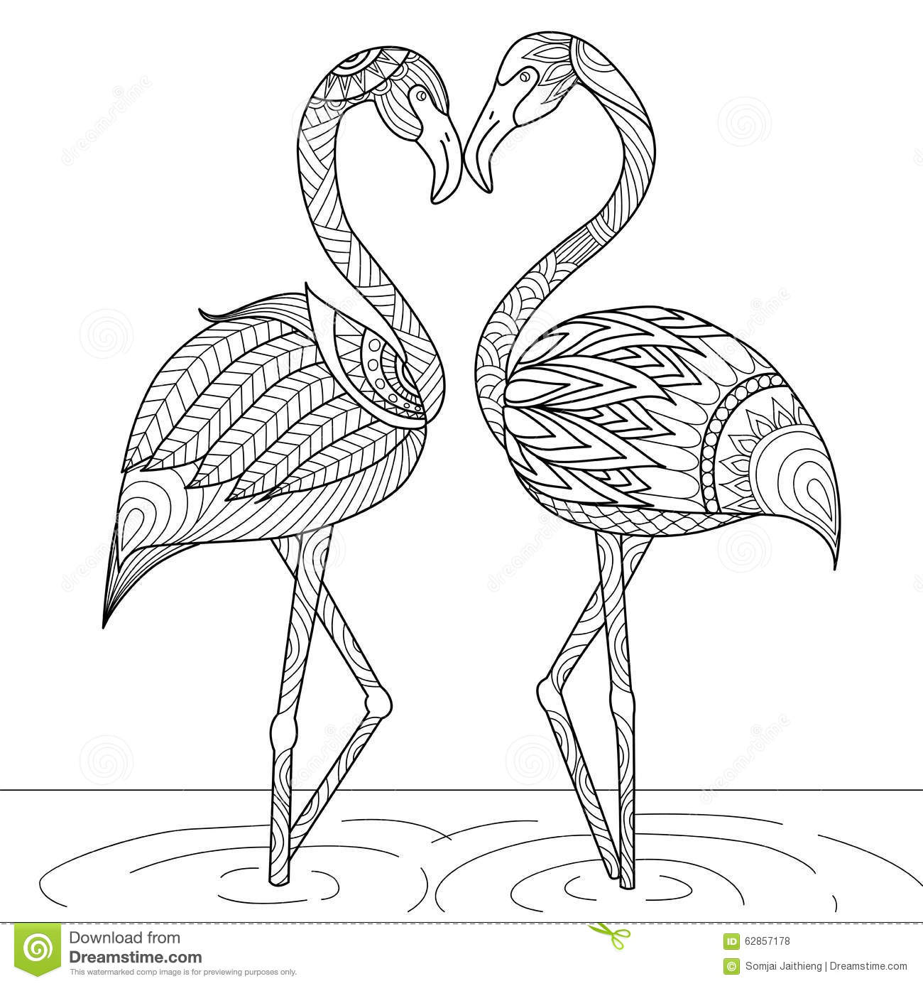 Hand Drawn Flamingo Couple Zentangle Style Stock Vector