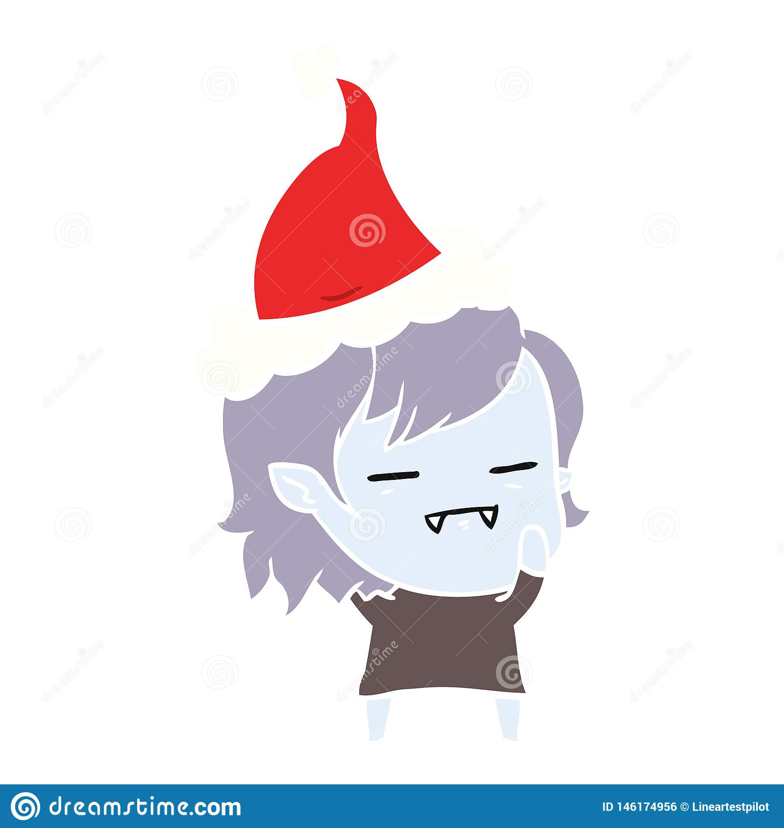 hand drawn flat color illustration of a undead vampire girl wearing santa hat