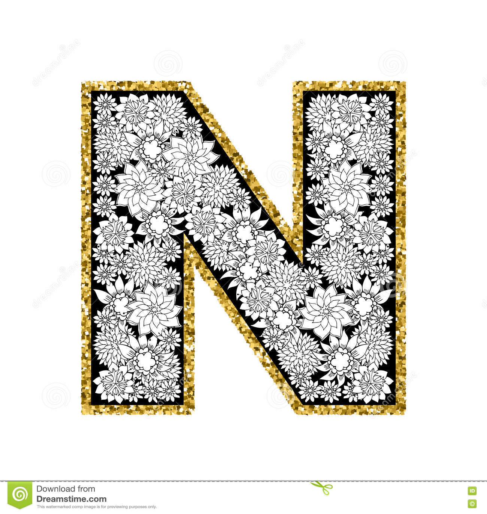 Hand Drawn Floral Alphabet Design  Gold Glittering Contour
