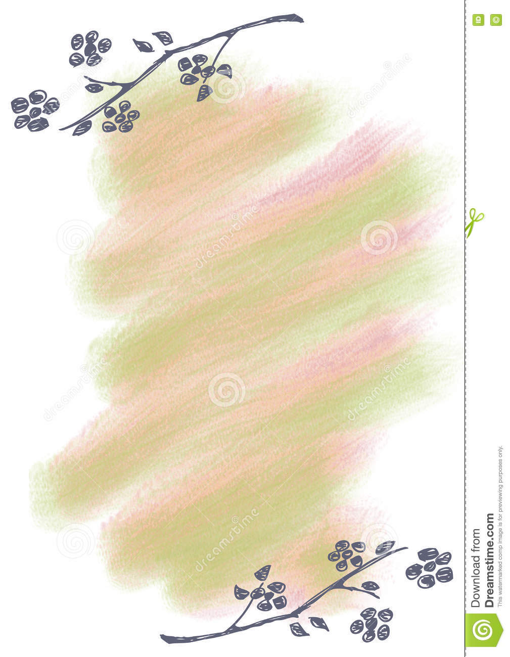 Hand Drawn Floral Background Vintage Greeting Card With Flowers And