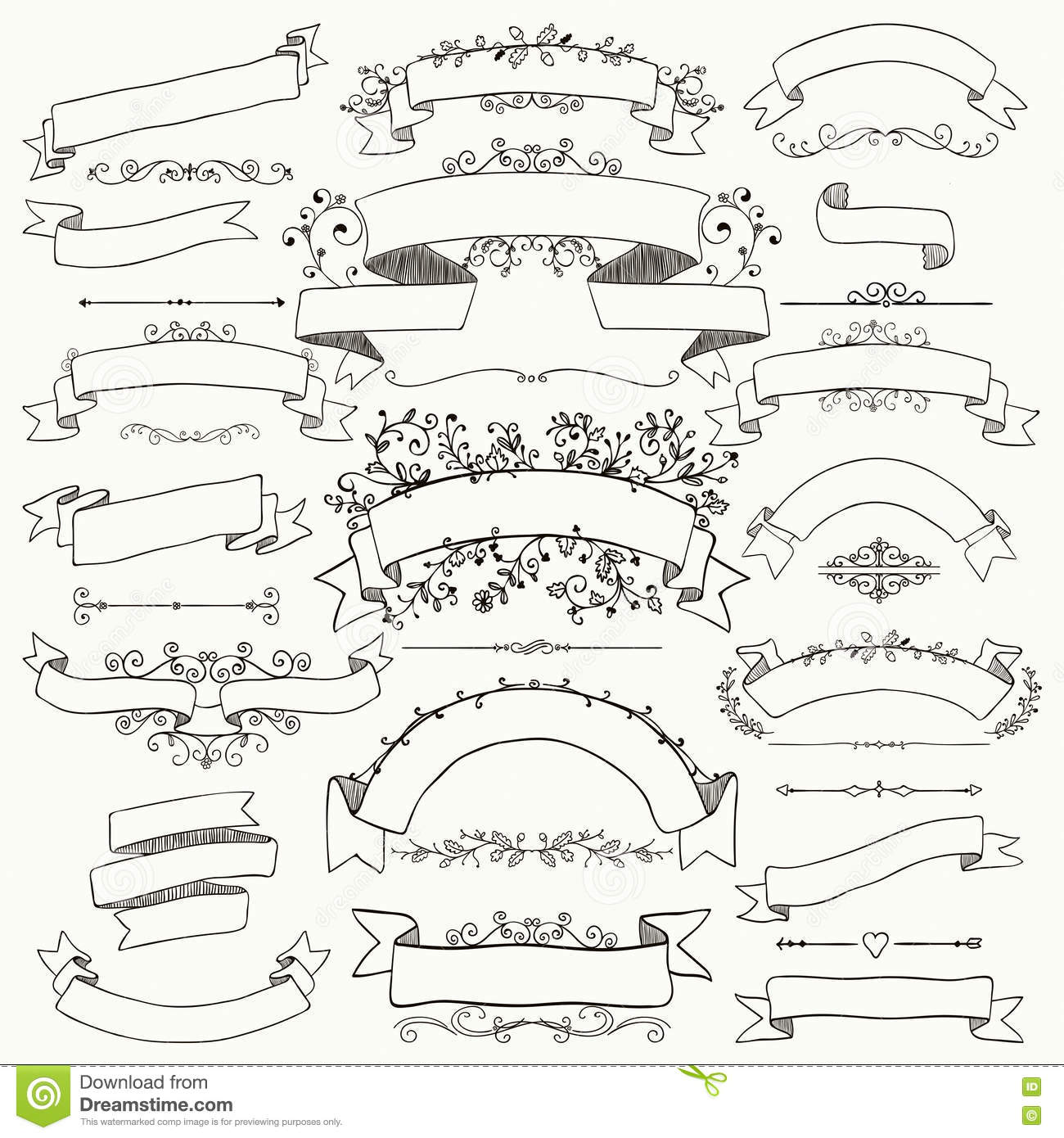Hand Drawn Floral Design Elements Ribbons Banners Royalty Free Vector