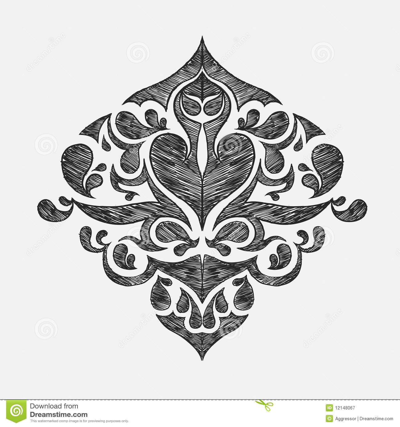 Hand Drawn Floral Ornament Royalty Free Stock Photography