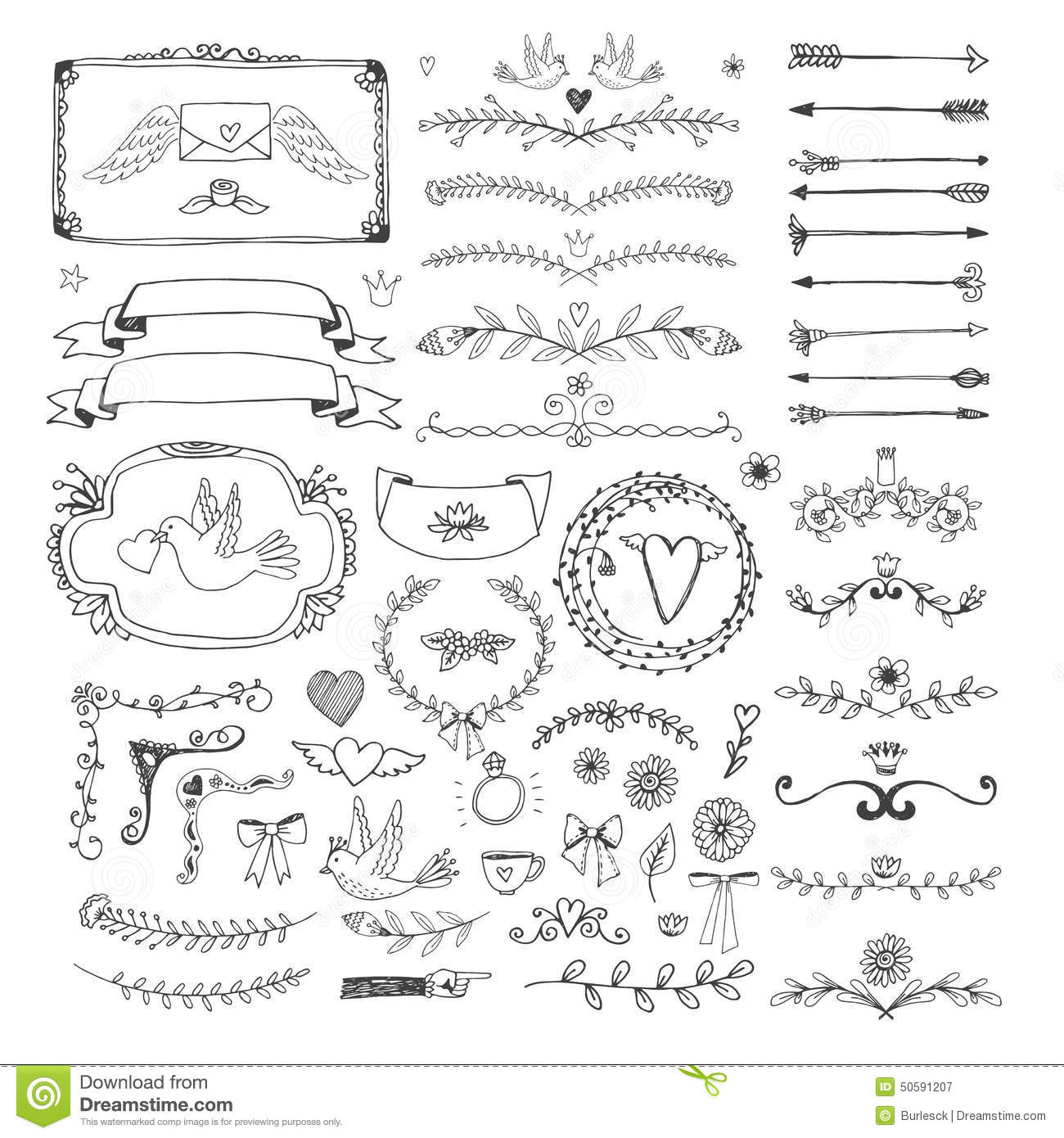 hand drawn floral page elements swirls  ribbons stock typewriter clip art black and white typewriter clip art images