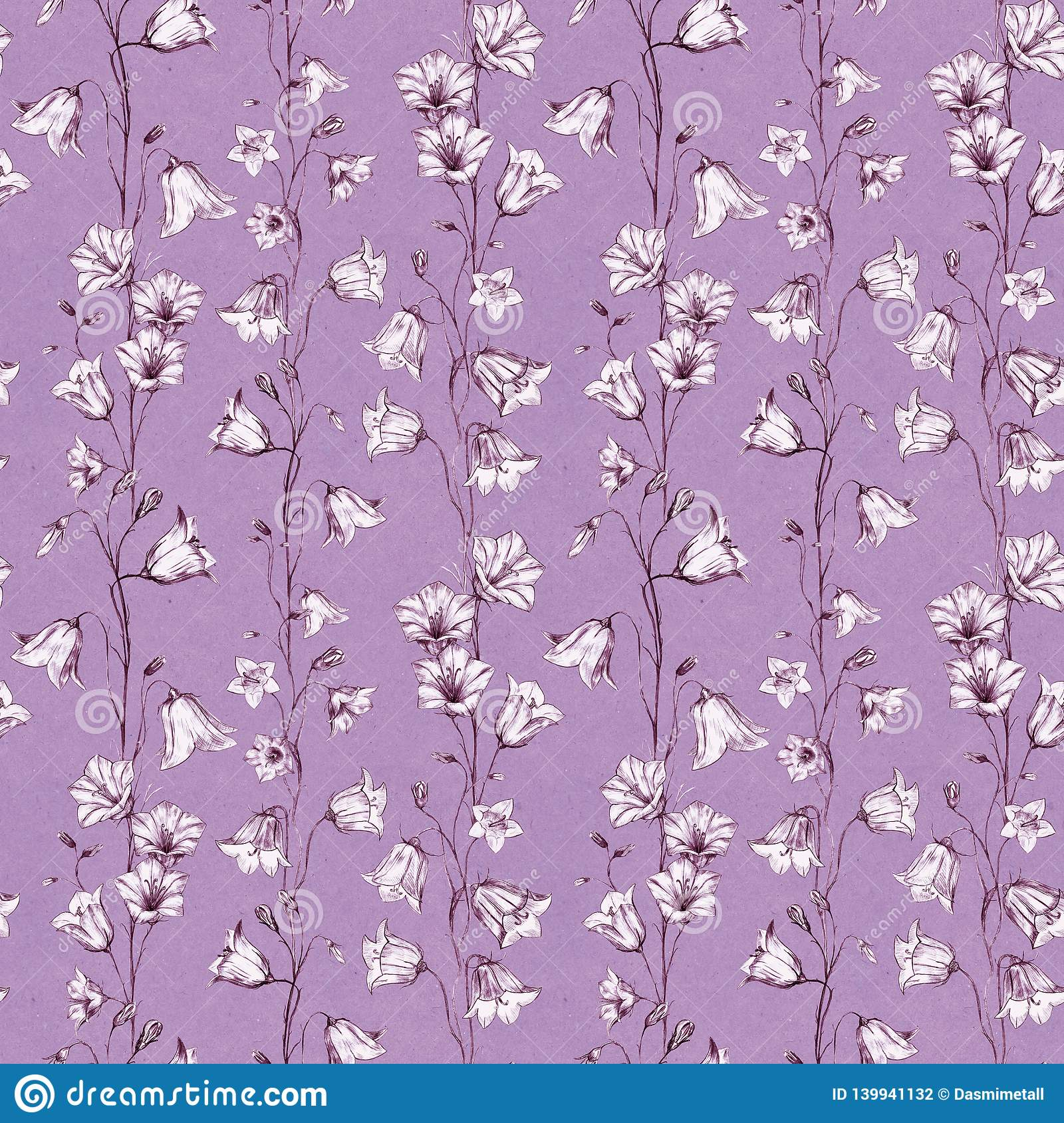 Hand drawn floral seamless pattern background with pink and white graphic bluebell flowers on dust pink craft paper