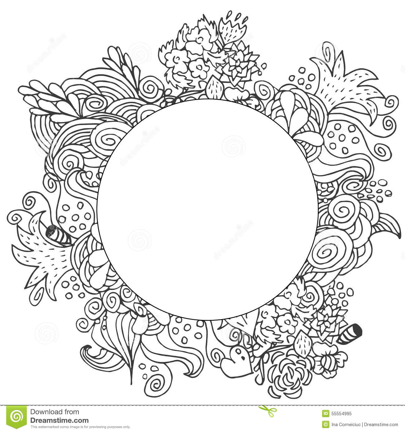 Line Art Card Design : Hand drawn floral vector doodle round monochrome card