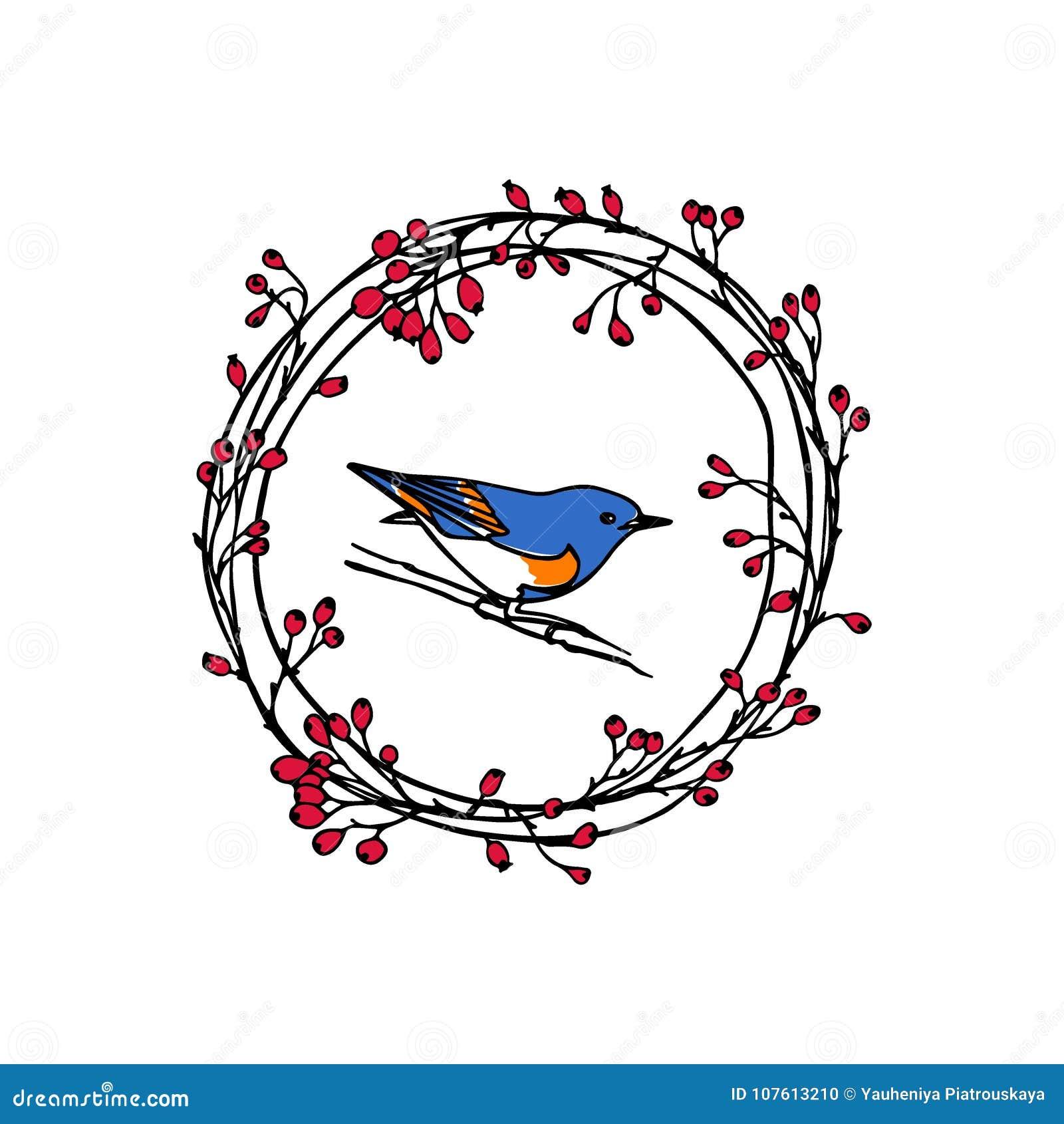Hand drawn bird emblem stock vector. Illustration of botany - 107613210