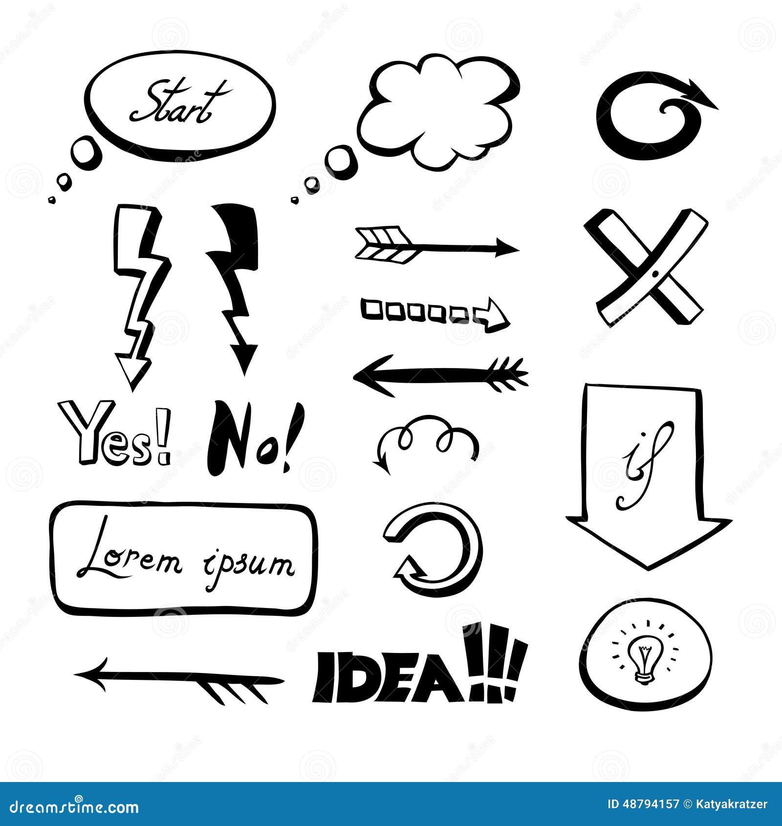 Hand drawn flowchart set stock vector illustration of idea 48794157 hand drawn flowchart set nvjuhfo Images