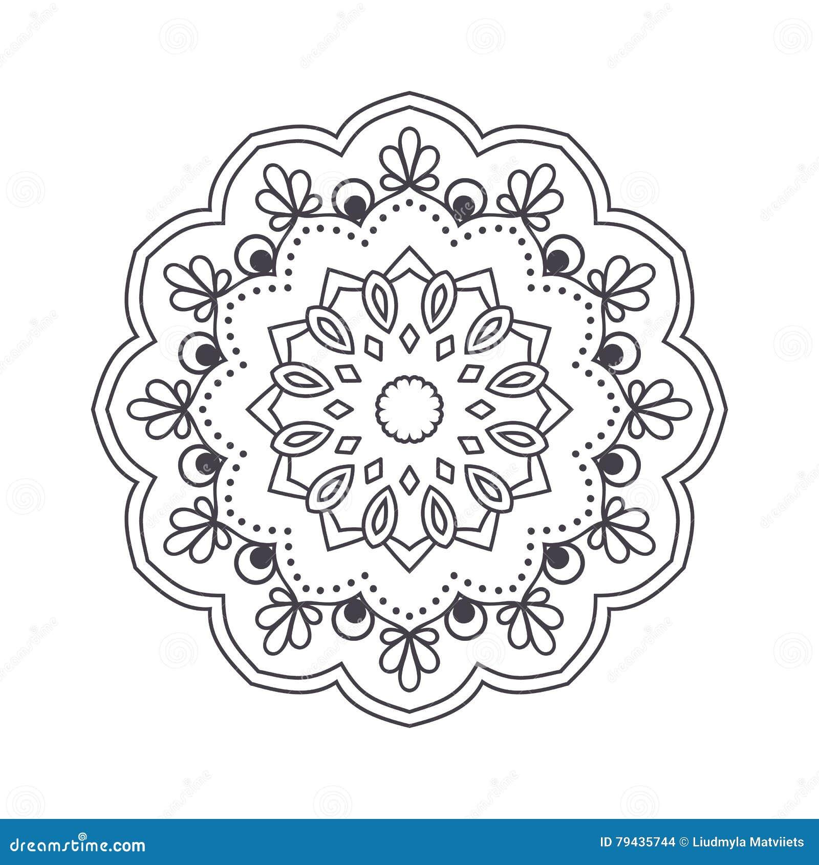 Flower Mandala For Coloring Book Cartoon Vector