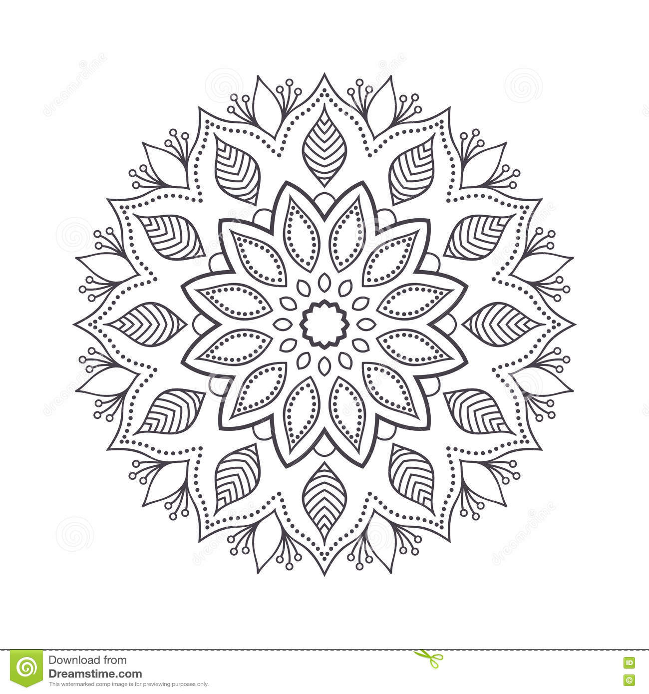 Hand Drawn Flower Mandala For Coloring Book Black And White Ethnic