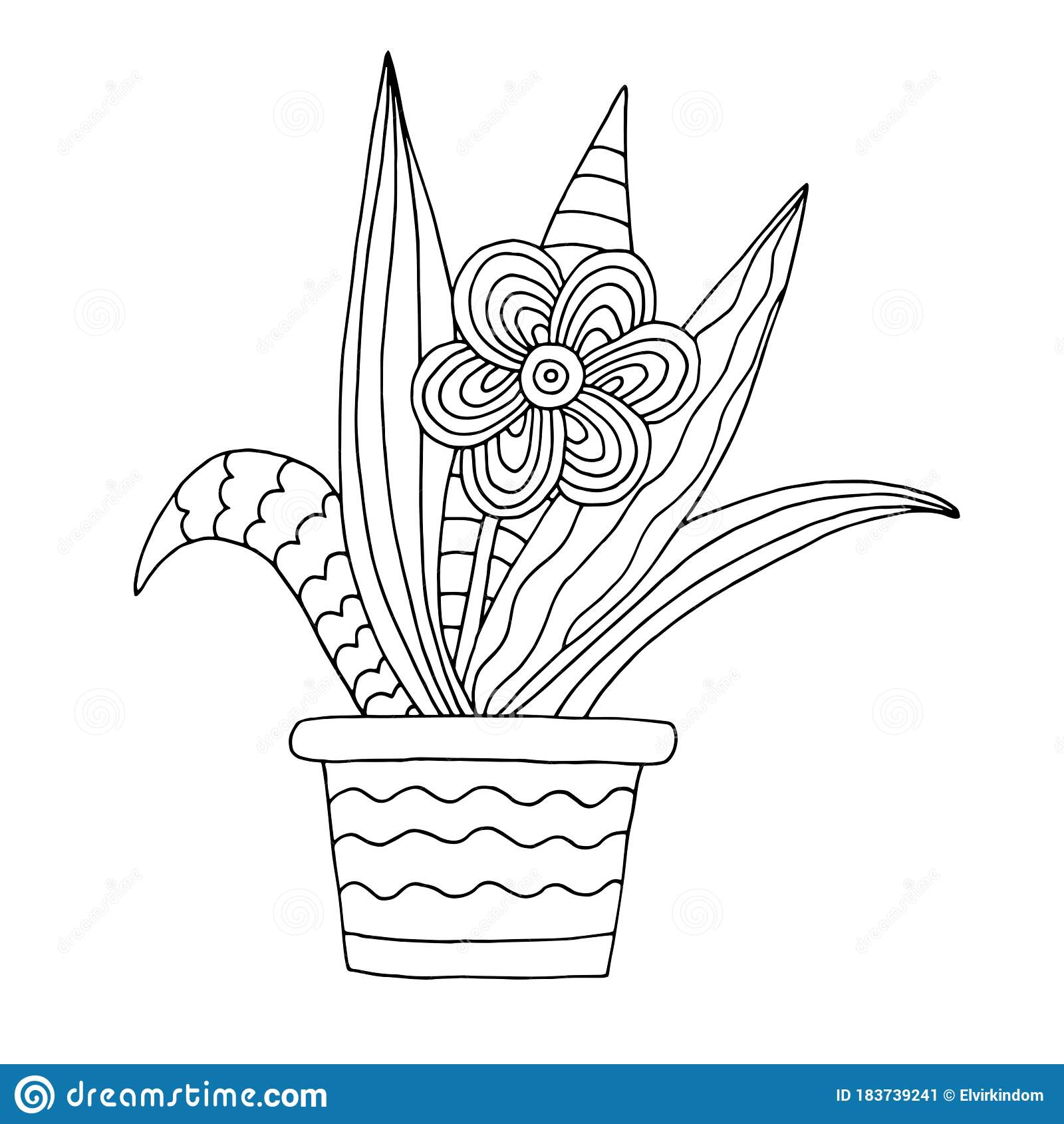 Hand Drawn Flower Pot Coloring Page Stock Vector Illustration Of Decorative Contour 183739241