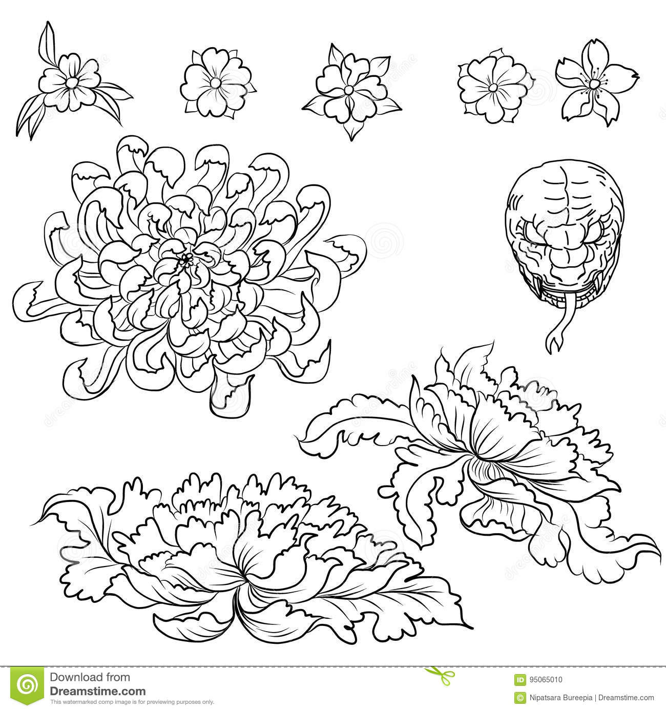 Hand Drawn Flower Tattoo Coloring Book Japanese Style Stock