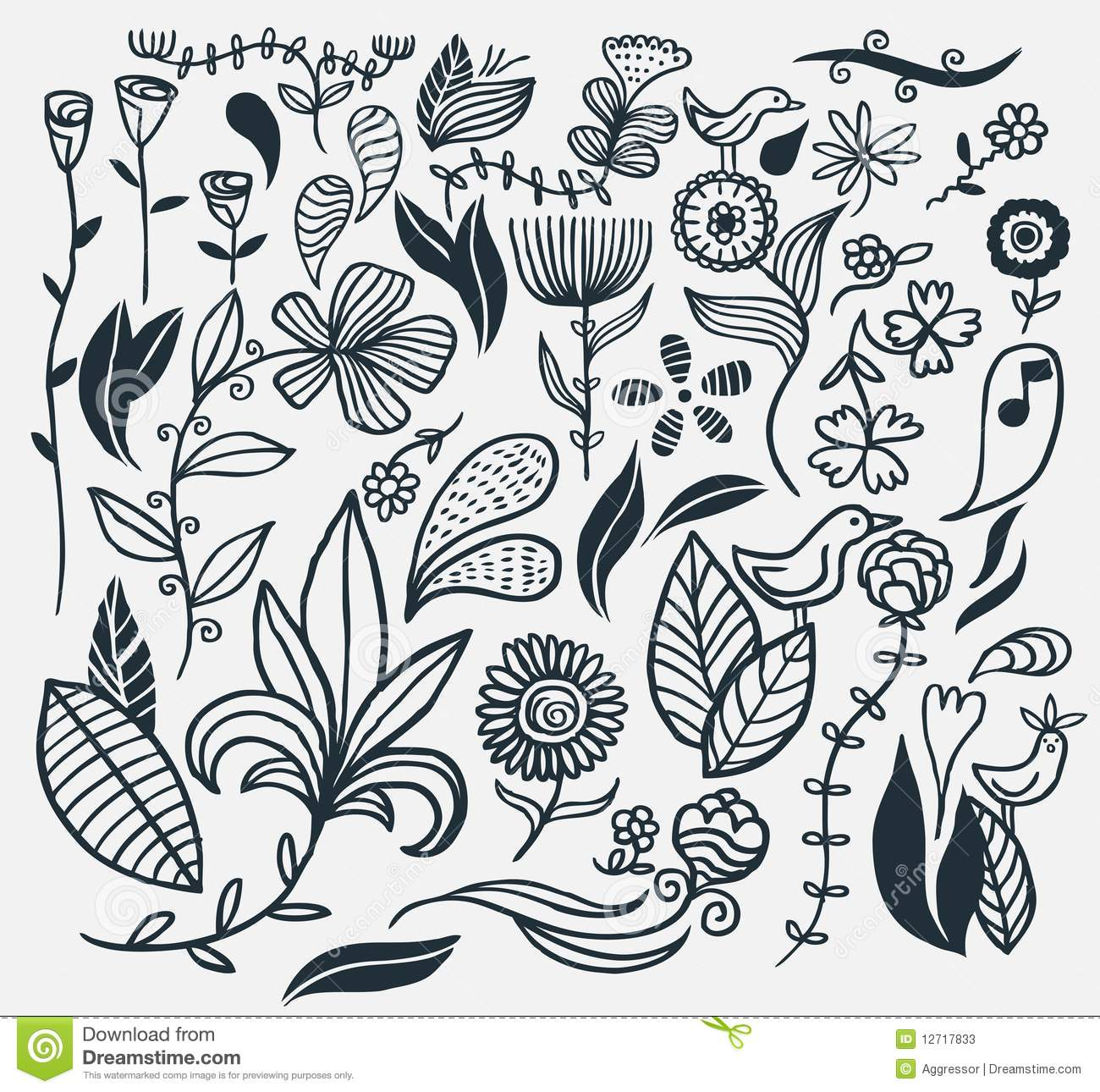 Hand drawn flowers