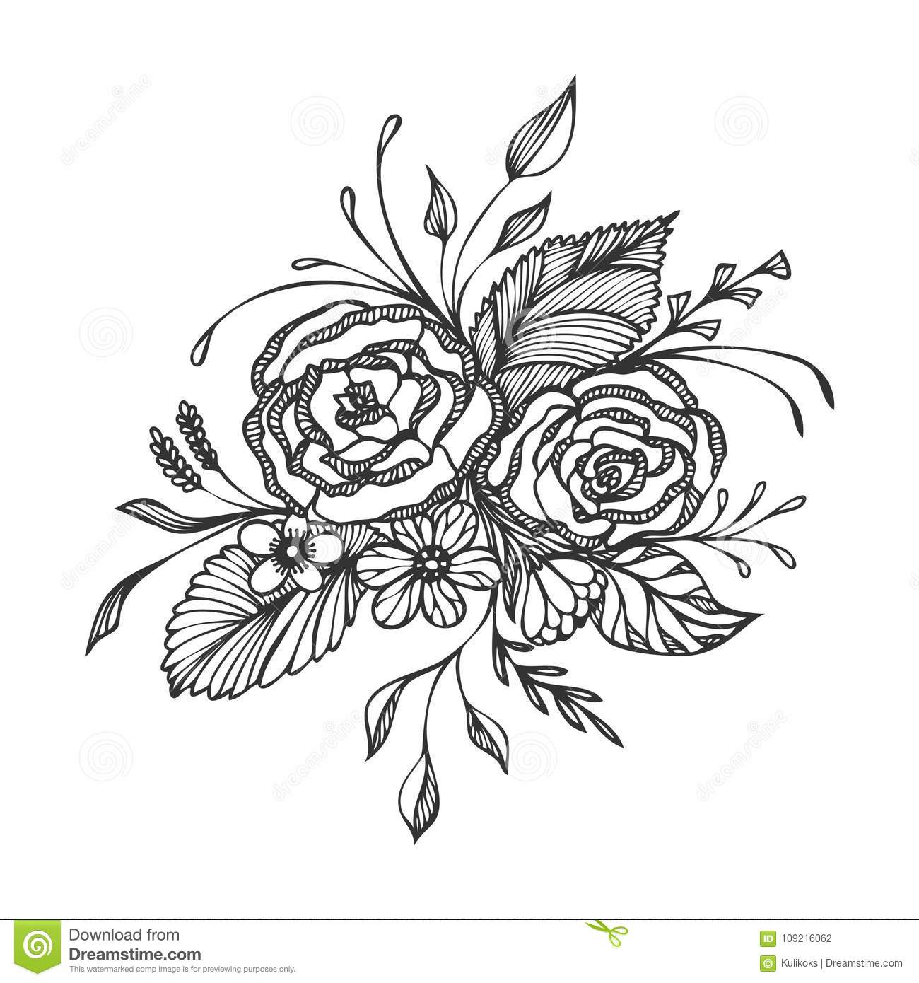 Hand Drawn Flowers Bouquet Black On White Stock Vector