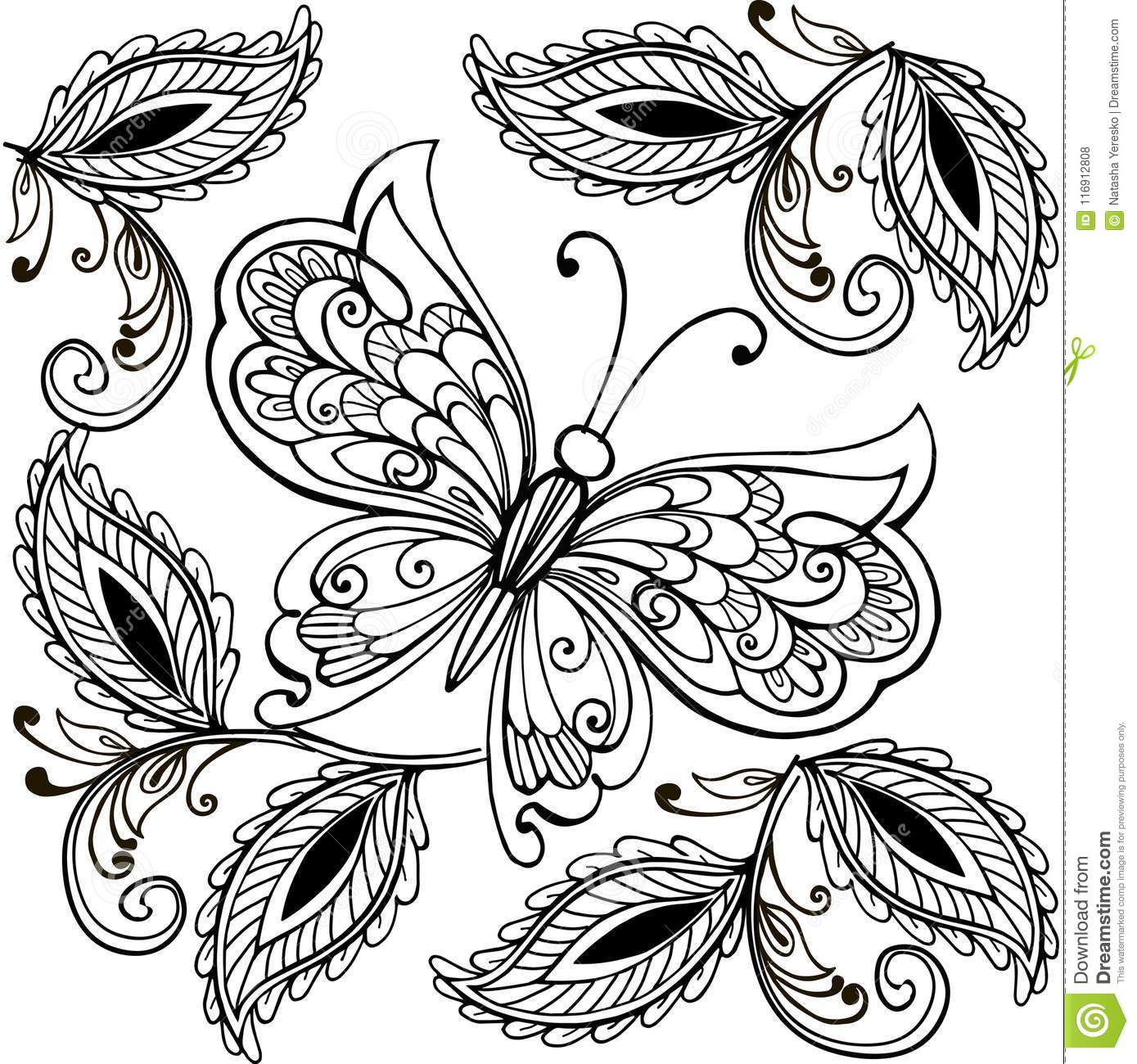 hand drawn flowers and butterflies for the anti stress coloring page