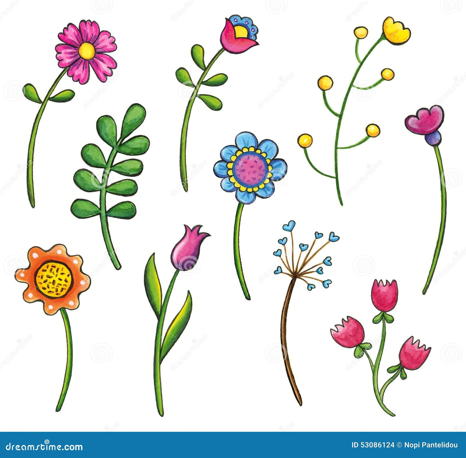 Hand Drawn Flowers Clip Art Set Stock Illustration ...