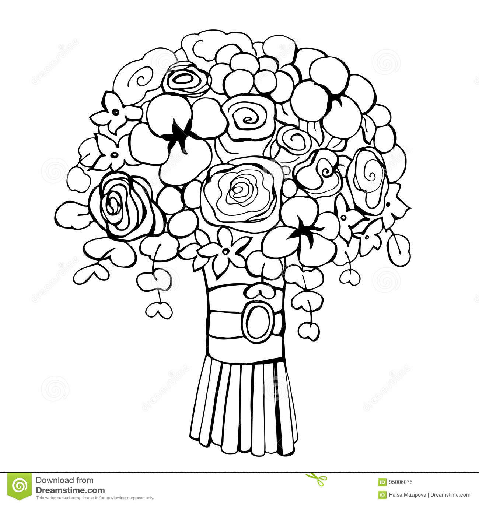 Wedding Flower Line Drawing : Hand drawn flowers wedding bouquet vector illustration