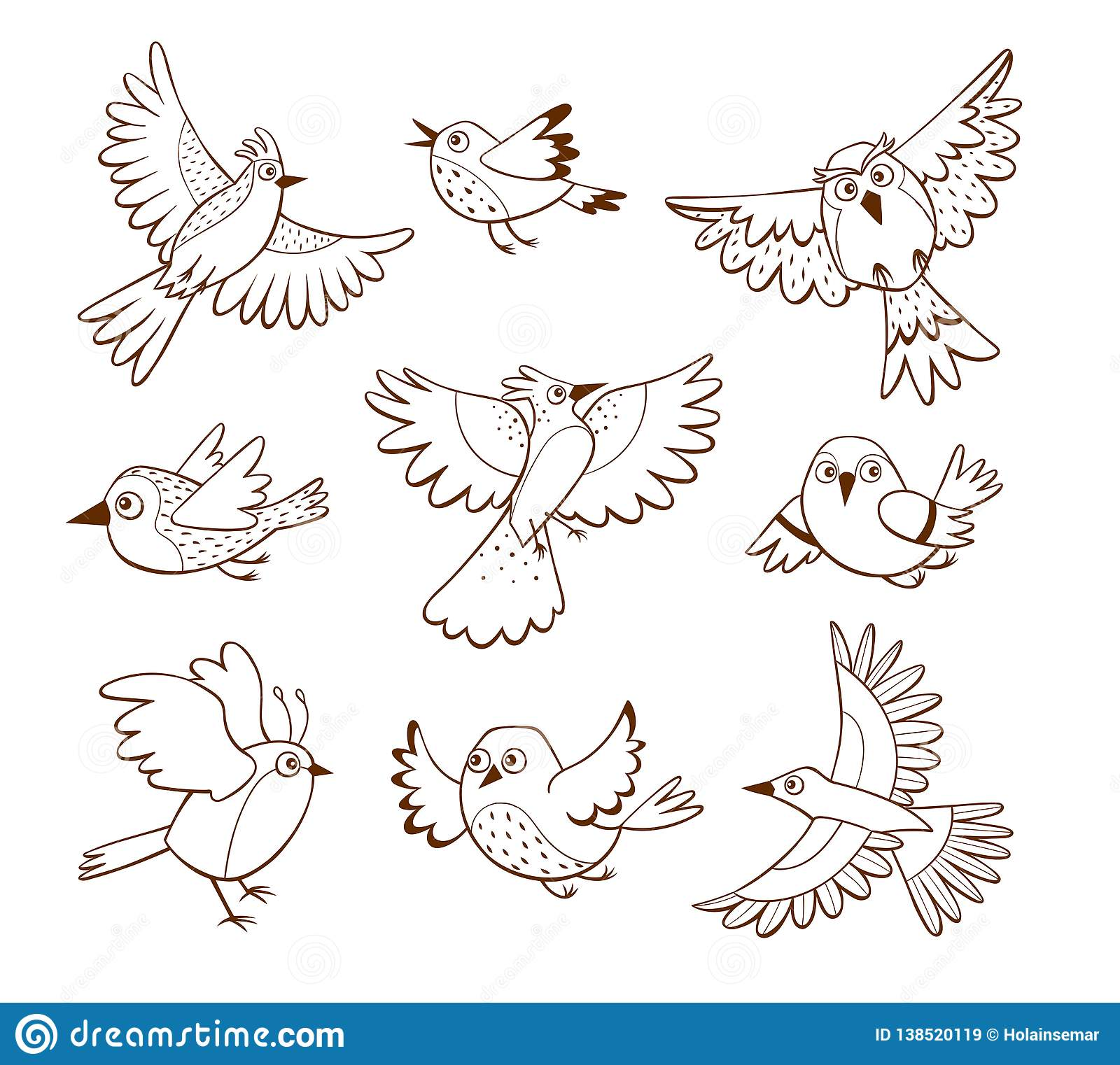 Hand drawn flying bird collection
