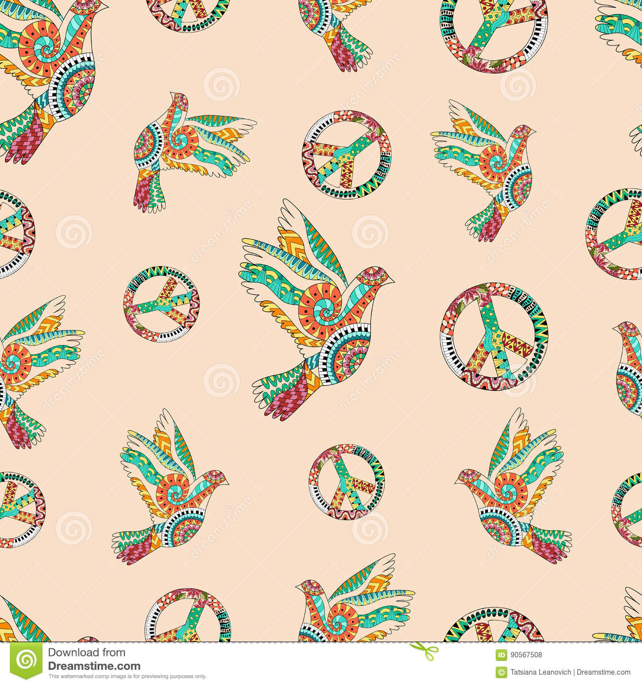Hand drawn flying doves and sign peace. Hippie wallpaper.