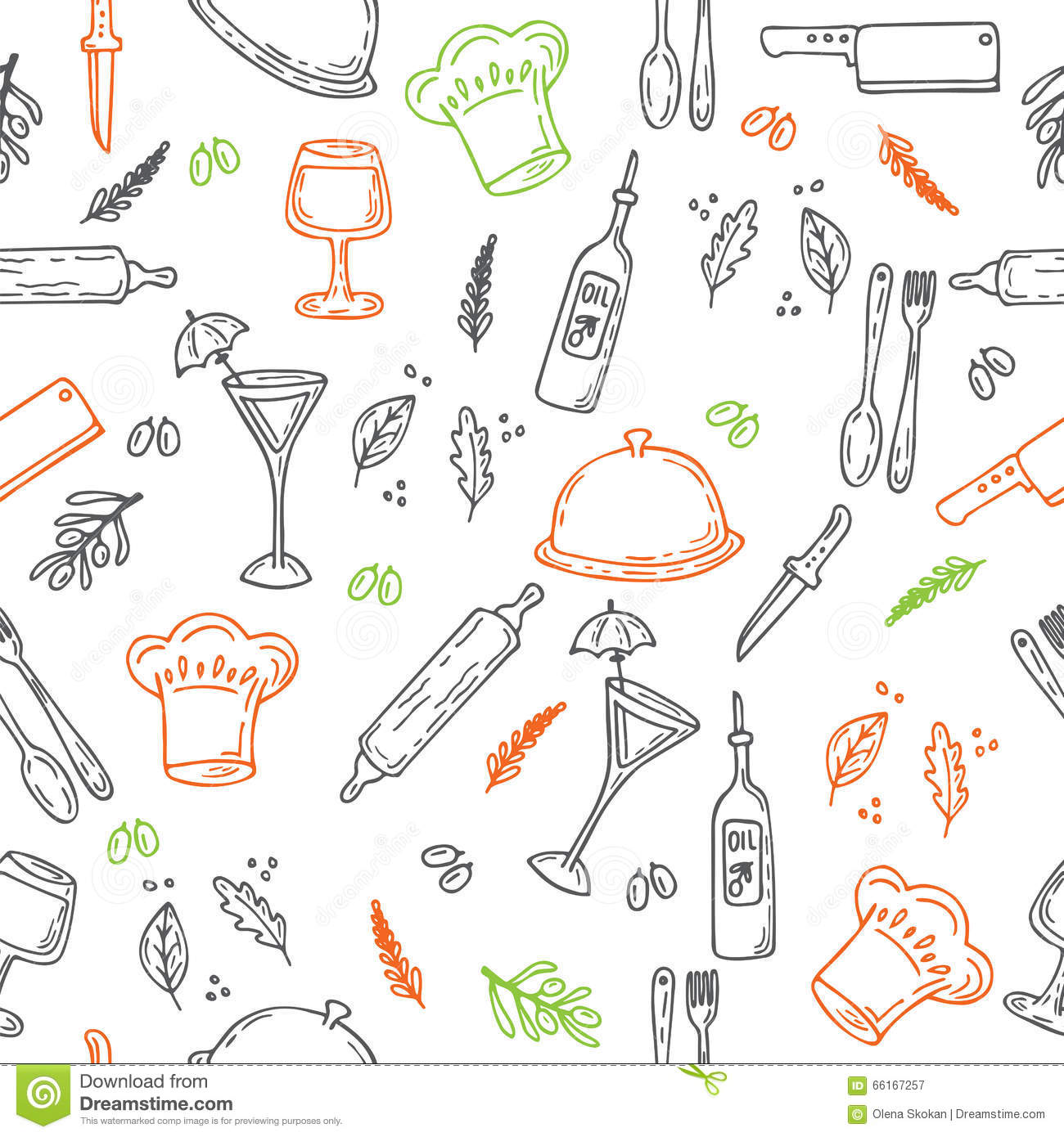 Hand Drawn Food Seamless Pattern Sketch Kitchen Elements For Yo Stock Vector Illustration