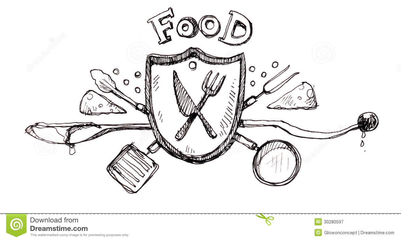 Food Icon Logo Drawing Stock Illustration Illustration Of