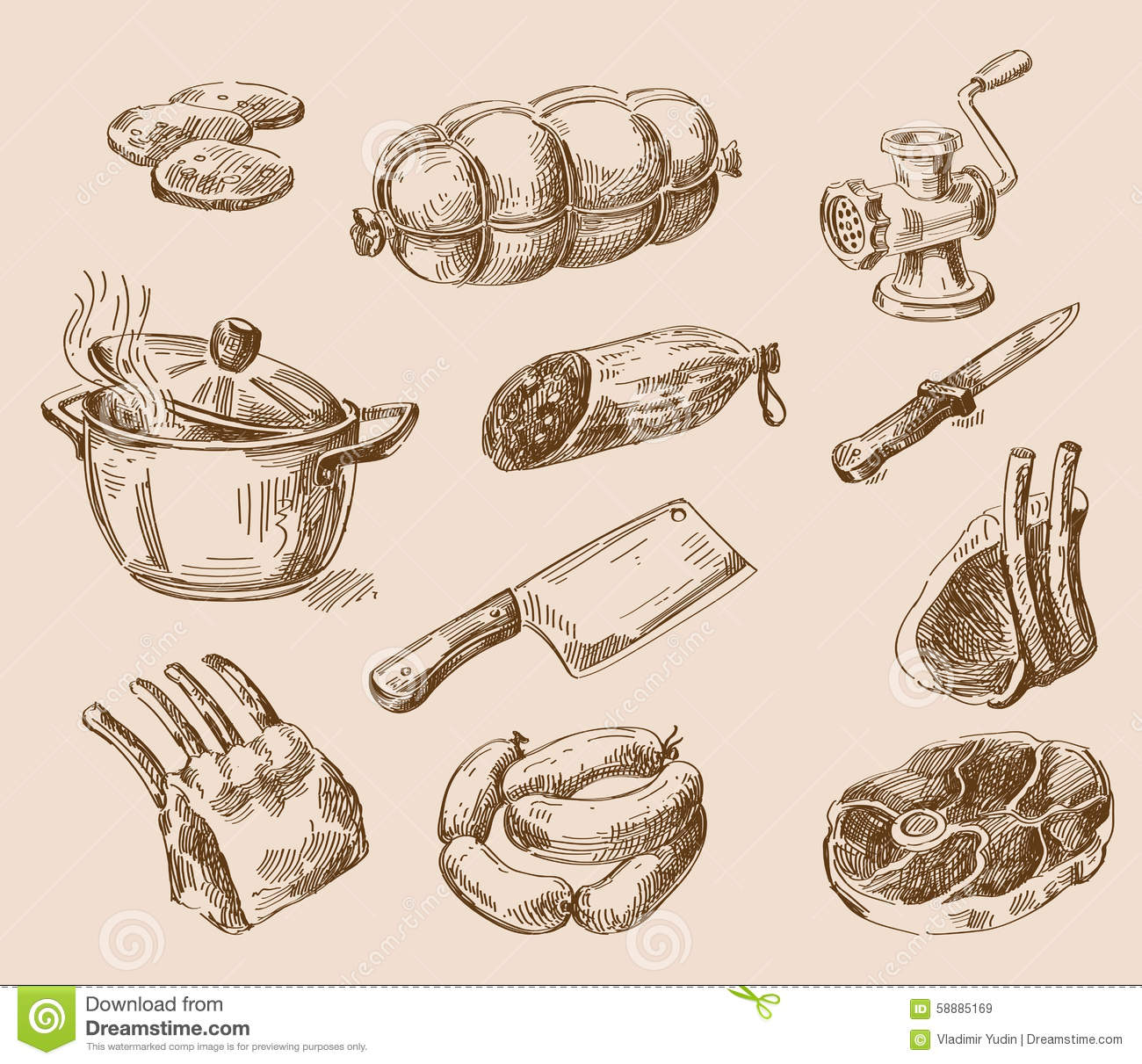 Hand Drawn Food Sketch Stock Vector. Illustration Of Doodles - 58885169