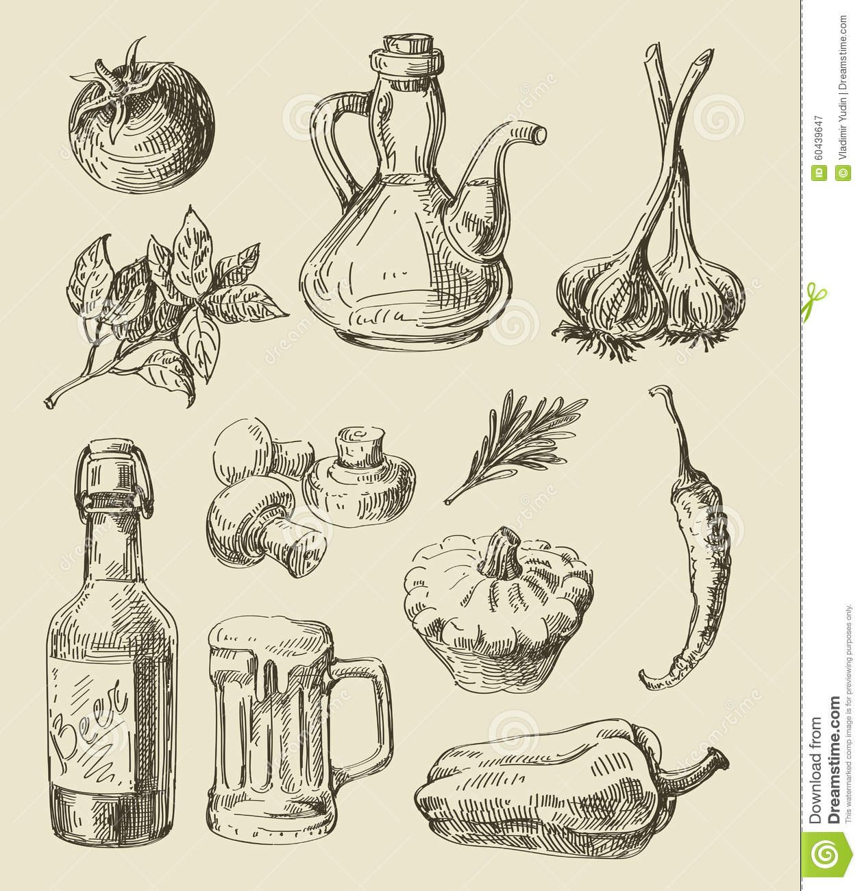 Hand Drawn Food Sketch Stock Vector. Illustration Of