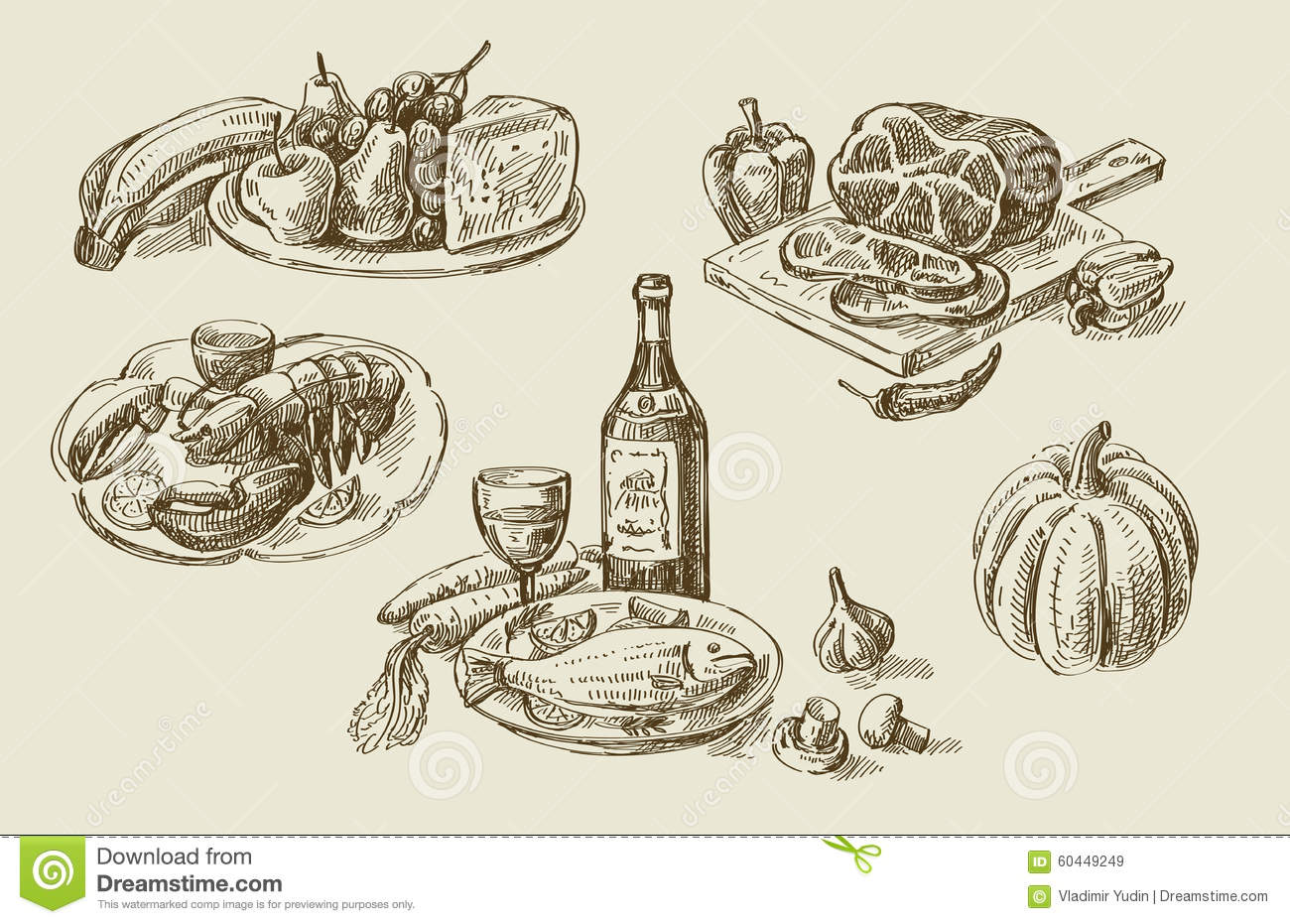 Hand Drawn Food Sketch Stock Vector. Illustration Of Glass - 60449249