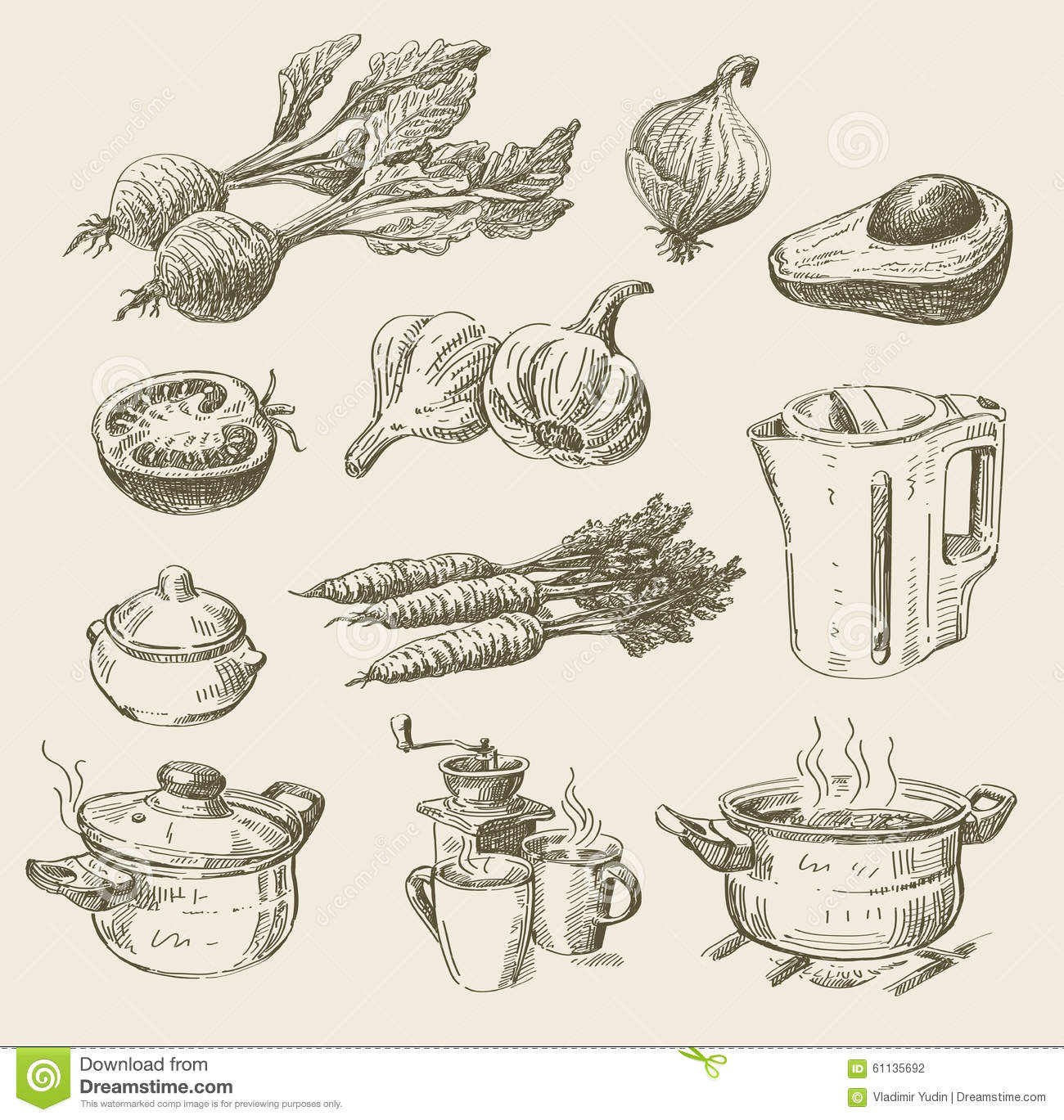 Hand Drawn Food Sketch Stock Vector. Image Of Cooking - 61135692