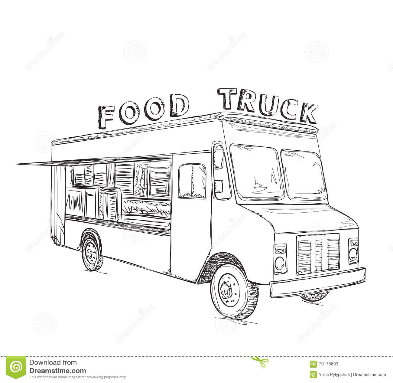 Line Art Poster Design : Hand drawn food truck stock vector image of