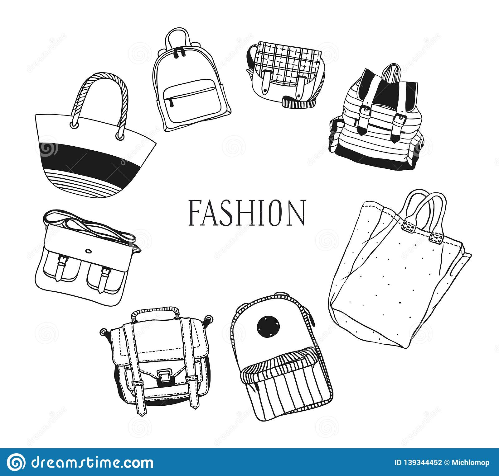 Hand drawn frame with Bags. Vector background. Actual fashion illustration. Original doodle style drawing. Creative ink art work