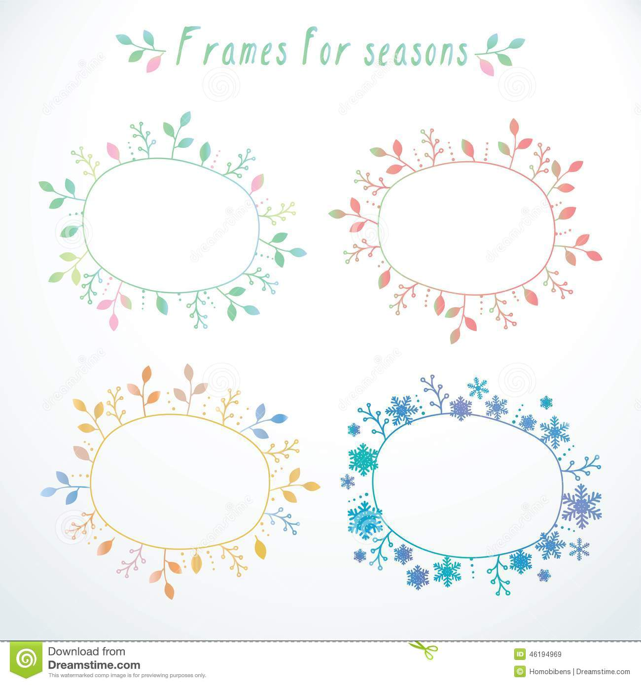 Hand-drawn frames with all seasons